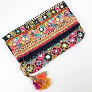Star Mela Embroidered Tapestry Tassel Fold Clutch